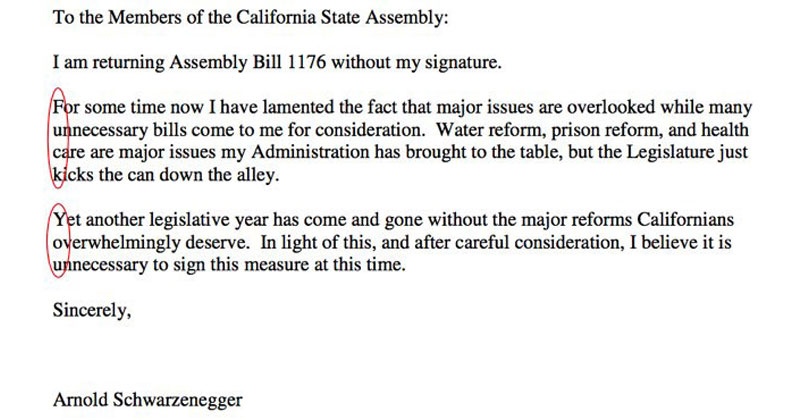governor arnold schwarzenegger fu letter1 The Time Schwarzenegger Wrote a Big FU to a California Assemblyman