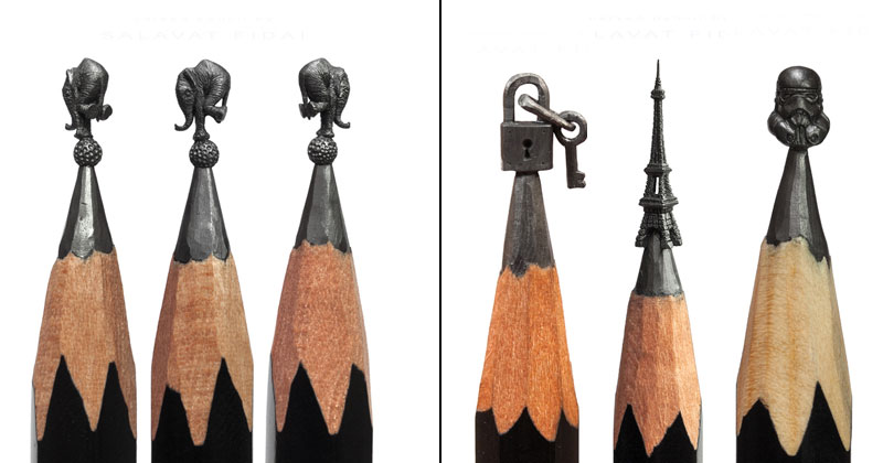 Miniature Sculptures Carved Onto the Tips of Pencils (21 Photos)