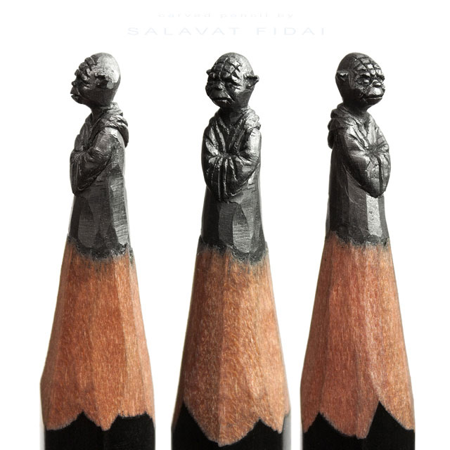 Miniature sculptures carved onto the tips of pencils