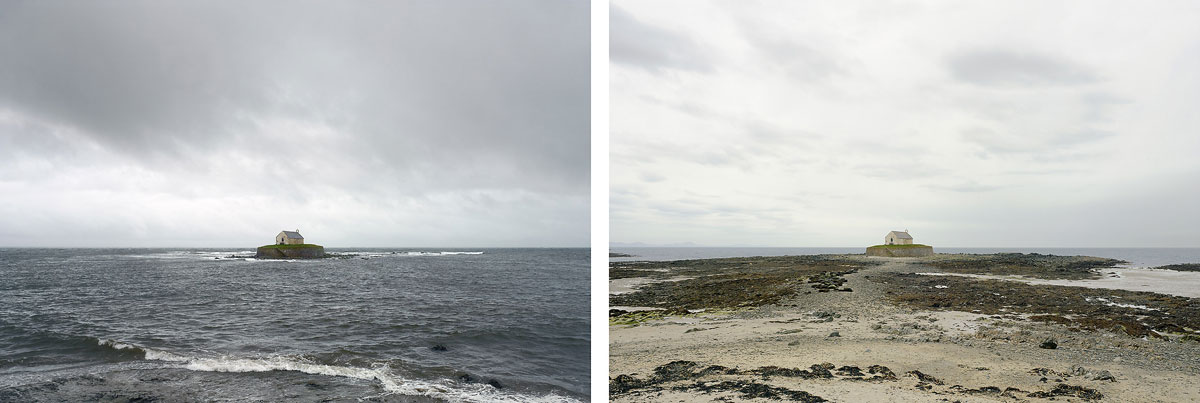 nw-St-Cwyfan's-'church-in-the-sea',-Isle-of-Anglesey.-9-April-2012.-High-water-12-noon,-low-water-5