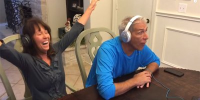 Parents Put on Headphones and Try to Lip Read Their Son's BabyAnnouncement