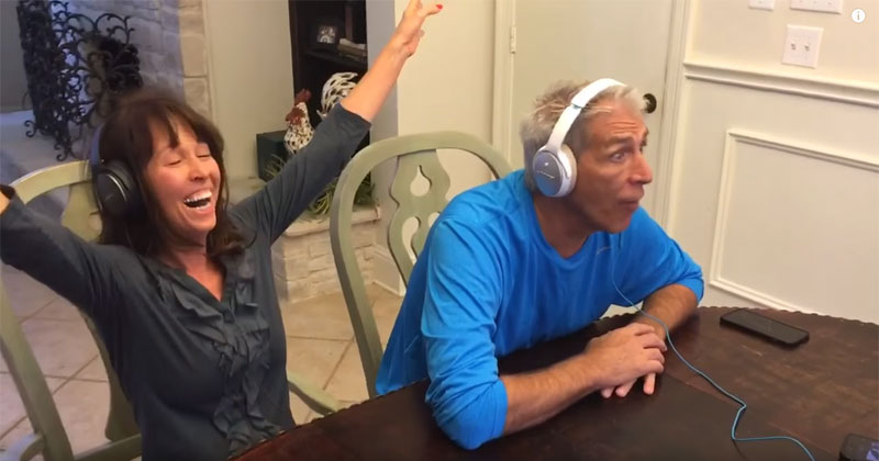 Parents Put on Headphones and Try to Lip Read Their Son's Baby Announcement