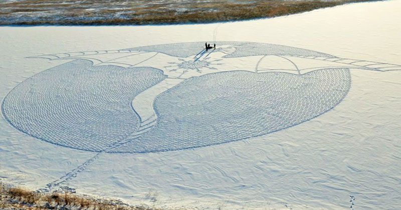 A Snow Dragon Made from Snowshoe Prints