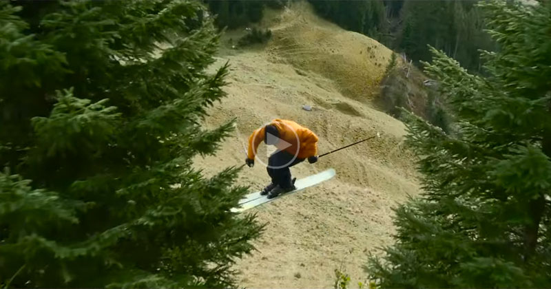 Candide Thovex Skis Down a Snowless Mountain