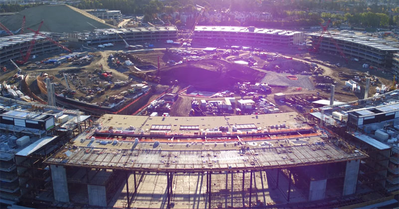 Drone Captures Construction Progress on Apple's New 'Spaceship' Office