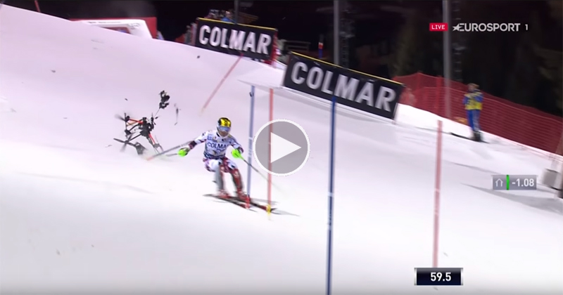 TV Drone Crashes Mid Race and Almost Wipes Out Skier