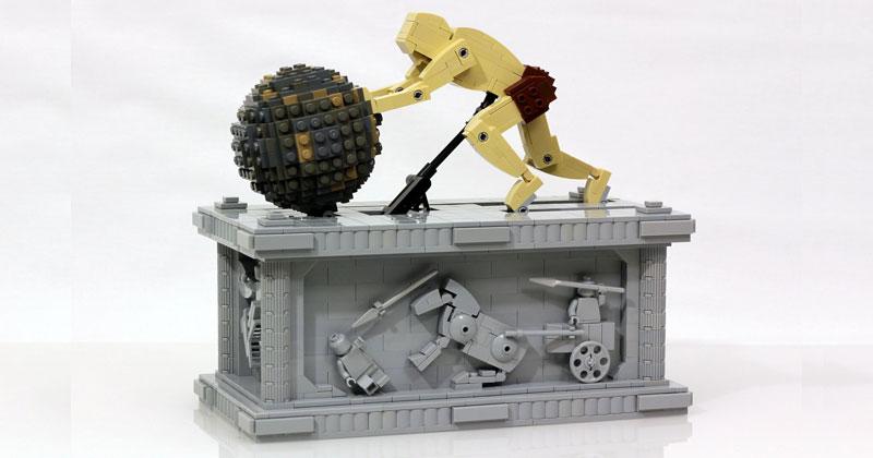 LEGO Sisyphus Pushes Boulder forEternity