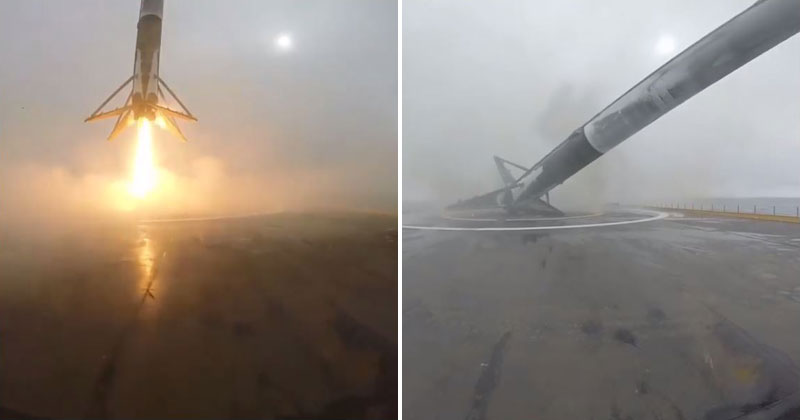Elon Musk Shares Close-Up of SpaceX Rocket Landing, Tipping and Exploding