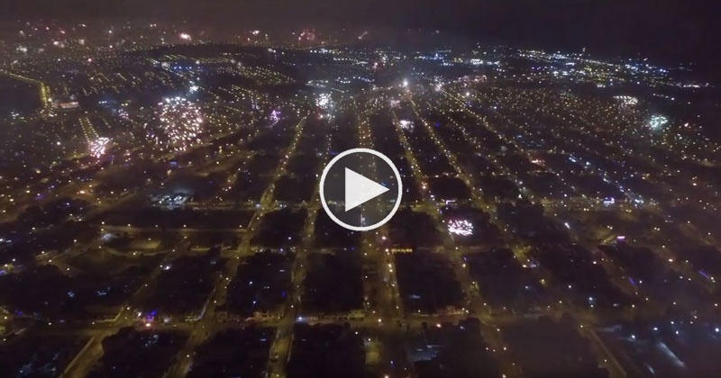 Drone Captures Amazing NYE Fireworks Across the Entire City ofLima