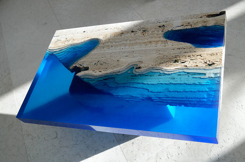 a coffee table lagoon made from marble and resin «twistedsifter