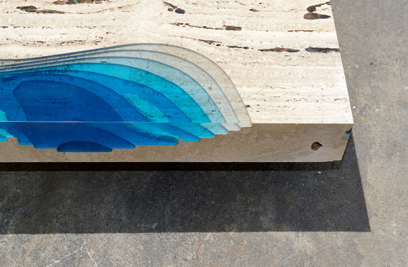 A coffee table lagoon made from marble and resin - Arts de la table design ...