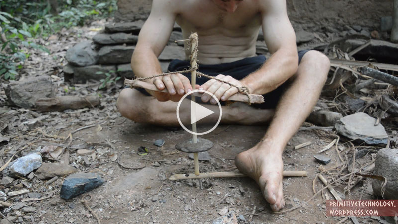 Guy Builds Primitive Cord Drill and Pump Drill with Sticks and Stones