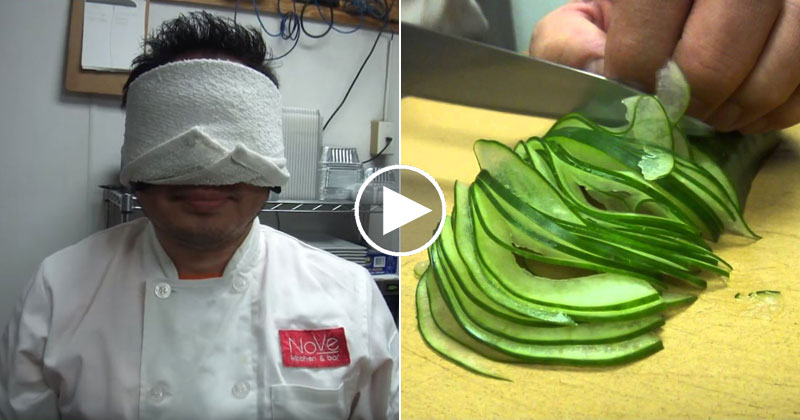 Blindfolded Cucumber Slicing With a Master SushiChef