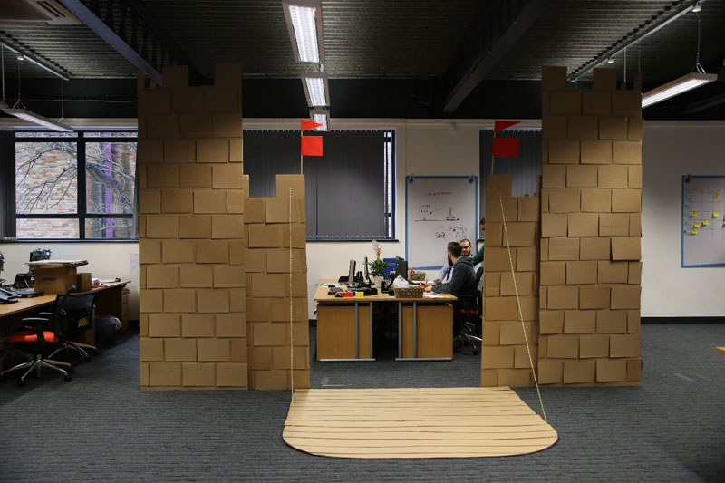 cardboard castle with drawbrdige office cubicle viking (1)