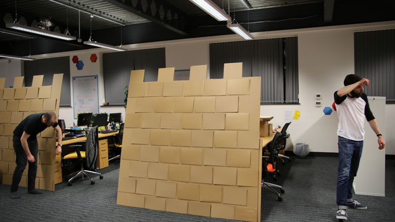 cardboard castle with drawbrdige office cubicle viking (11)