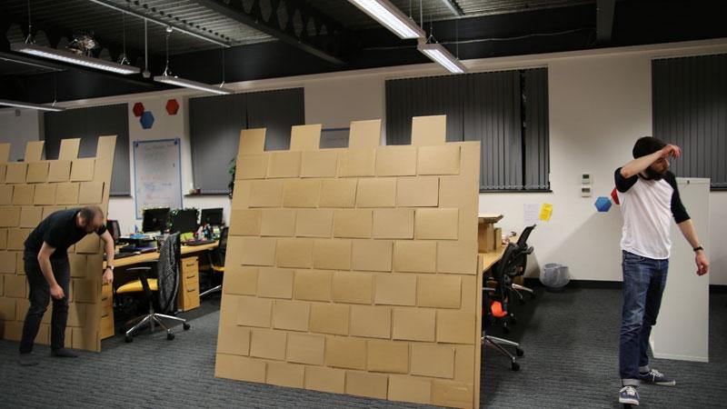 cardboard castle with drawbrdige office cubicle viking (11)