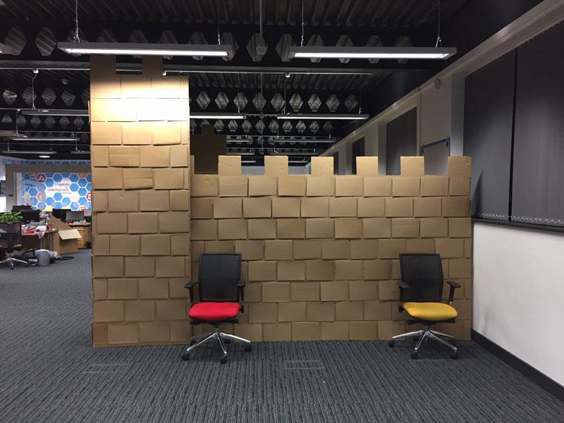 cardboard castle with drawbrdige office cubicle viking (12)