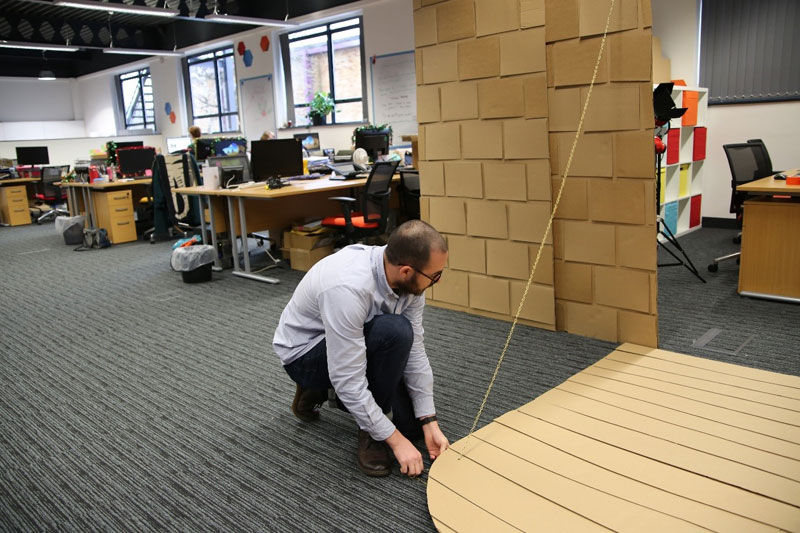 cardboard castle with drawbrdige office cubicle viking (13)