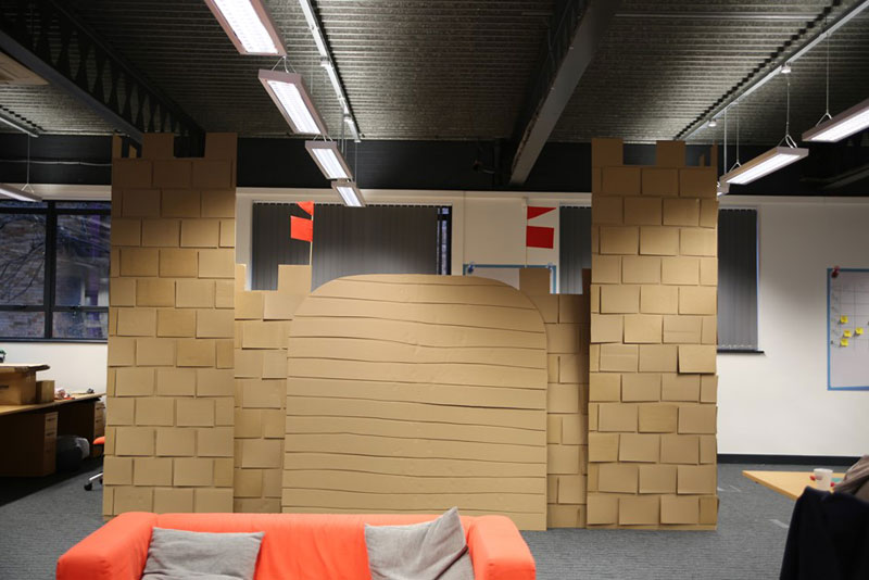 cardboard castle with drawbrdige office cubicle viking (14)