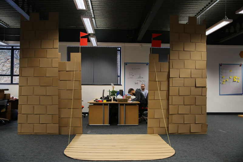 cardboard castle with drawbrdige office cubicle viking (15)
