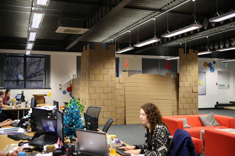 cardboard castle with drawbrdige office cubicle viking (2)