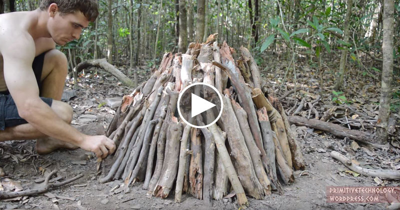 Guy Makes Charcoal With His Bare Hands in the Middle of theWoods