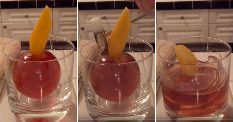 A Cocktail Inside An Iceball Freed By A Hammer