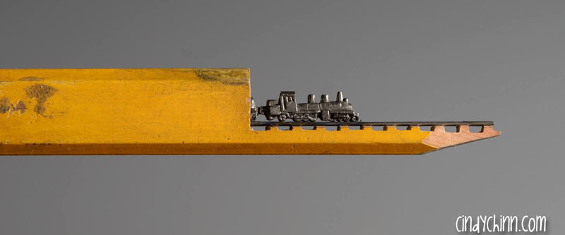 mini trains carved into pencils by cindy chinn (16)