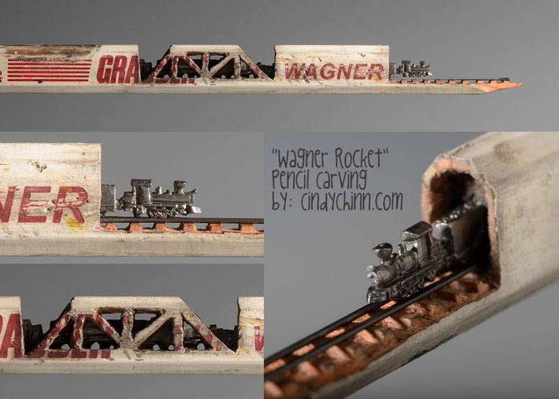 mini trains carved into pencils by cindy chinn (2)
