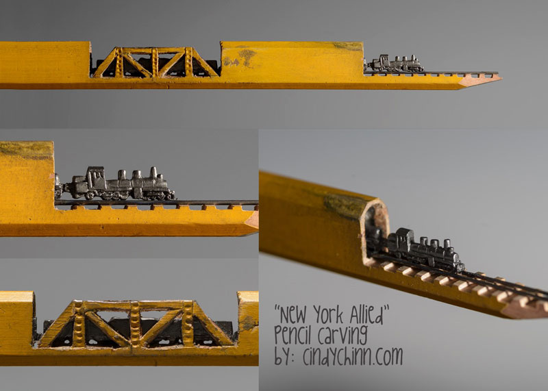 mini trains carved into pencils by cindy chinn (5)