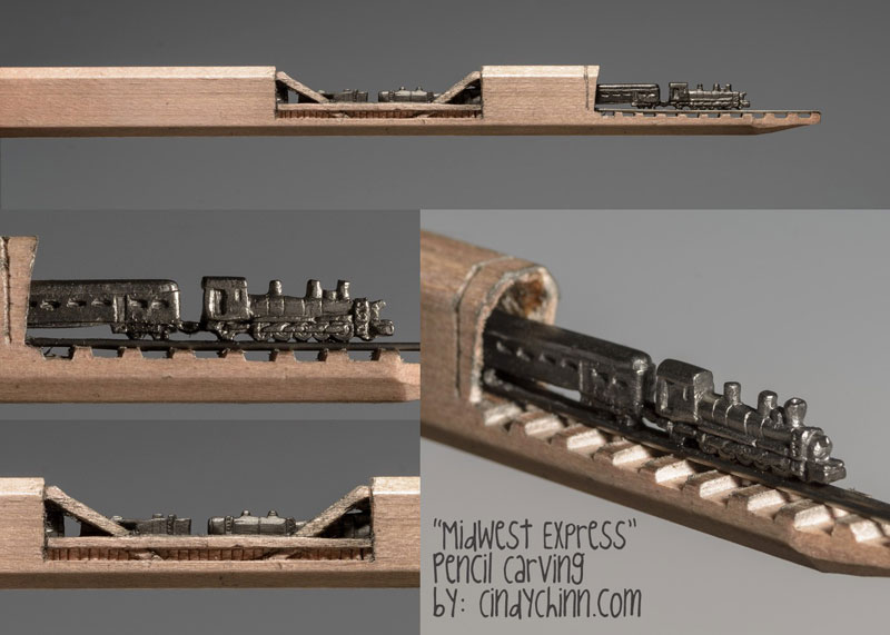 mini trains carved into pencils by cindy chinn (6)