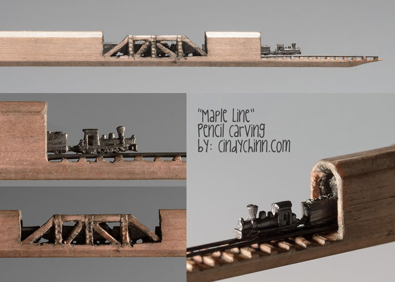 mini trains carved into pencils by cindy chinn (7)