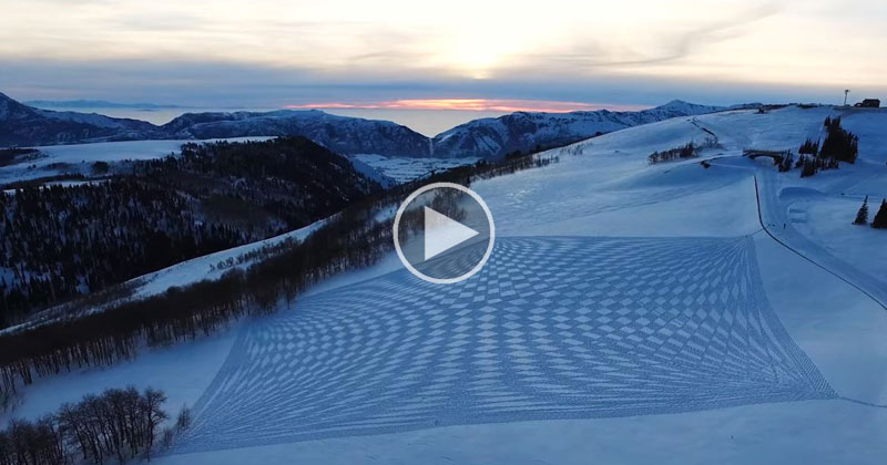 Simon Beck Takes Over 40,000 Steps to Draw Huge Murals in the Snow