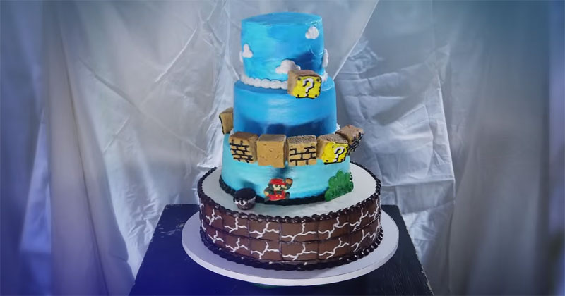 Just a Super Mario Stop Motion Cake of Level 1-1