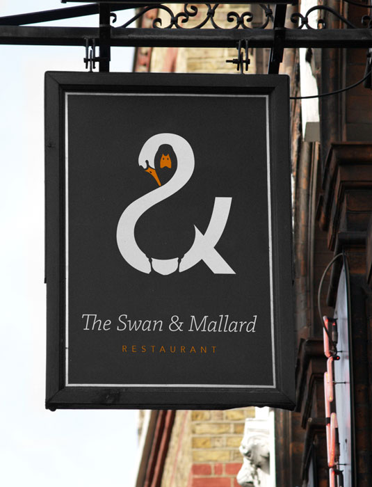 swan and mallard restaurant logo 2 15 Logos That Found a Creative Use for Negative Space