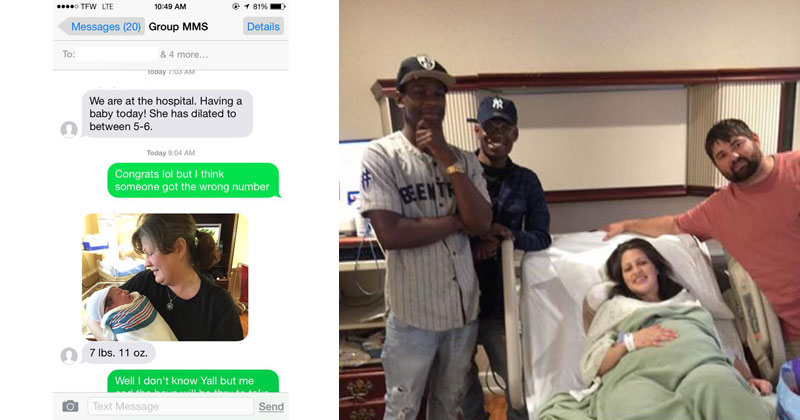 baby announcement gets texted to wrong number guy shows up with gifts anyway twistedsifter