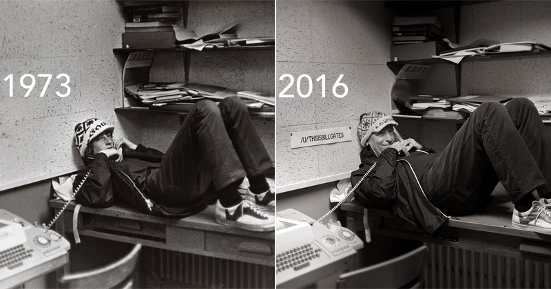 picture of the day bill gates recreates 1973 high school yearbook