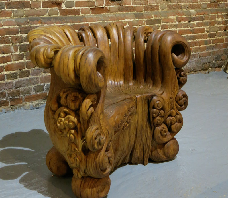 incredible chair carved from single oak stump  12 photos