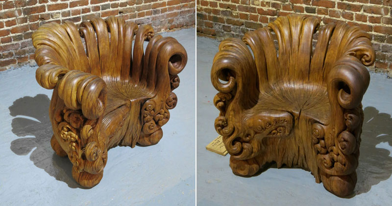 Incredible Chair Carved From Single Oak Stump (12Photos)