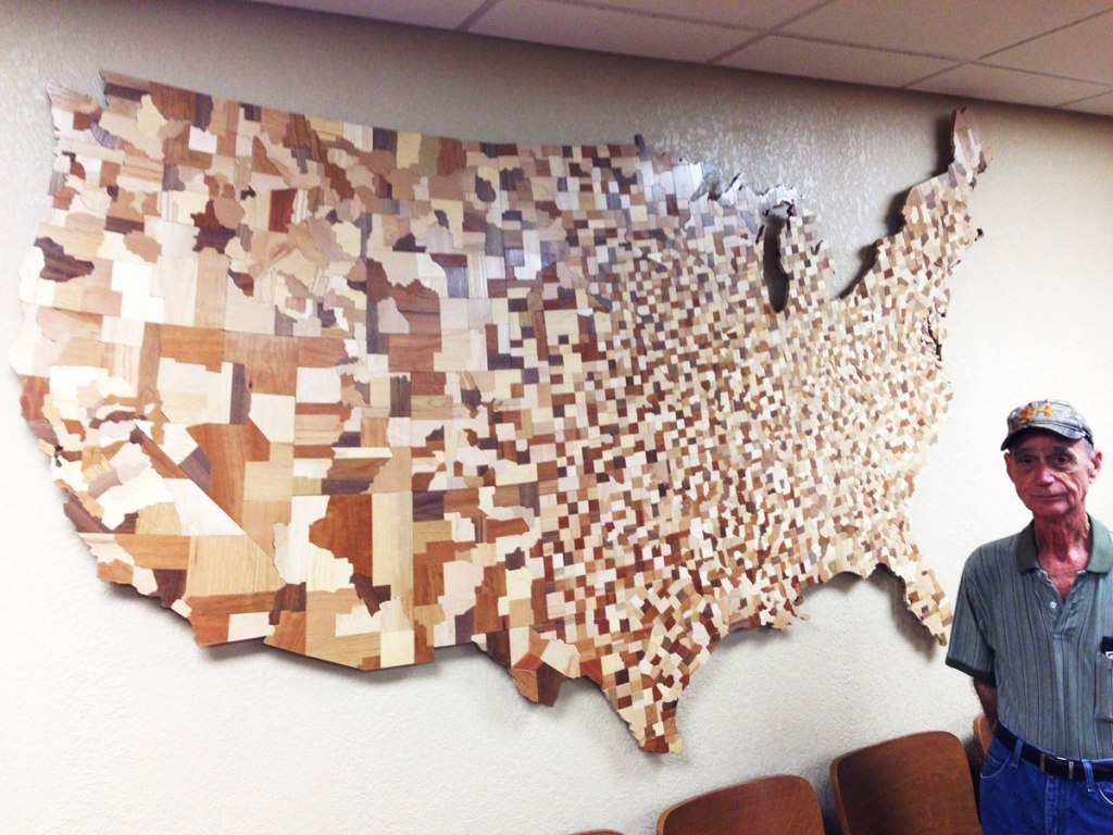 Incredible USA Counties Map Made from Over 3,000 Carved Wooden Blocks