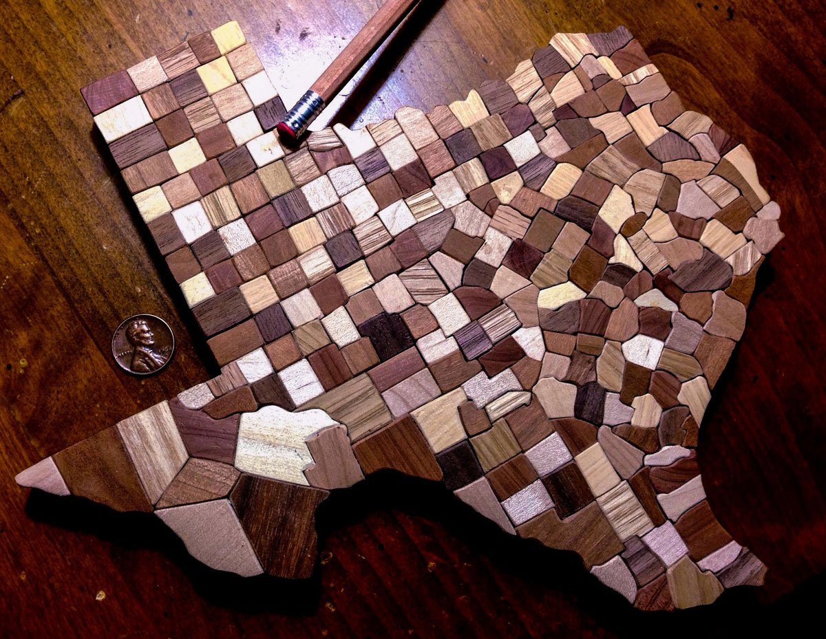 USA Counties Map Made from Carved Wooden Blocks by ben graves (2)