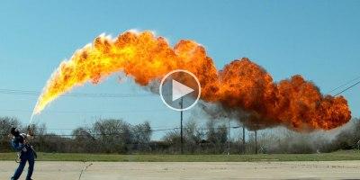 50 ft Flamethrower in Super Slow Motion4K