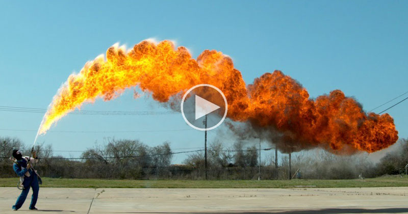 50 ft Flamethrower in Super Slow Motion 4K