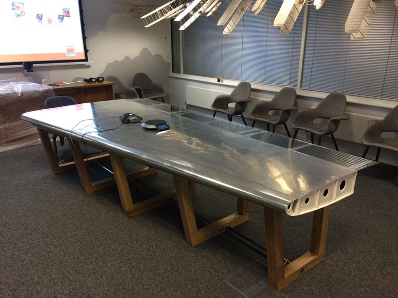 Amazing Furniture Made From Old Aircraft Parts Photos - Old conference table