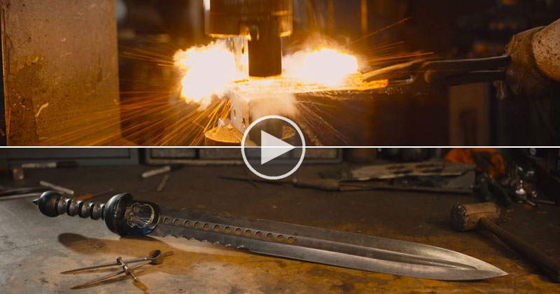 Master Blacksmith Forges Roman Gladius Sword From Damascus Steel 8K