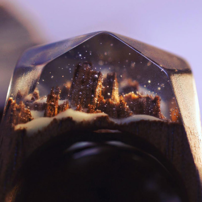 Miniature Landscapes Inside Rings of Wood and Resin by Secret Wood (1)