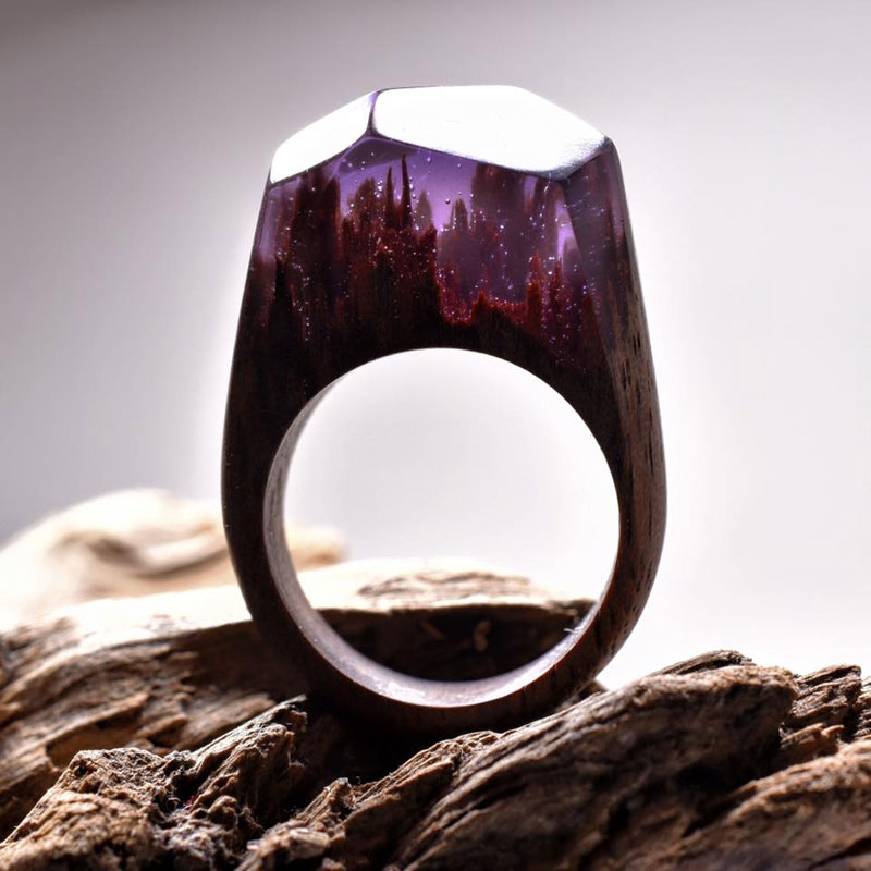 Stunning Miniature Landscapes Inside Rings Of Wood And Resin - Inside each of these wooden rings is a beautiful hidden world