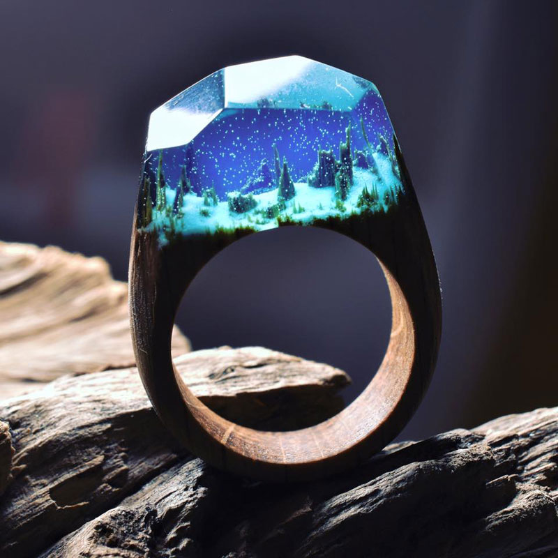 Miniature Landscapes Inside Rings of Wood and Resin by Secret Wood (5)