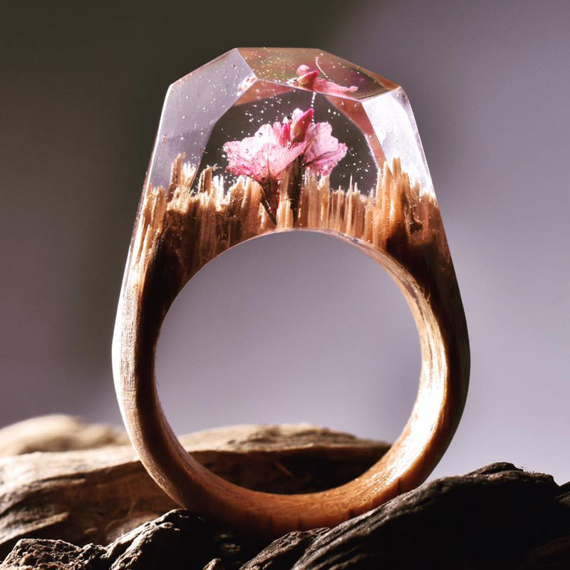 Wood Wedding Ring 77 Perfect Miniature Landscapes Inside Rings