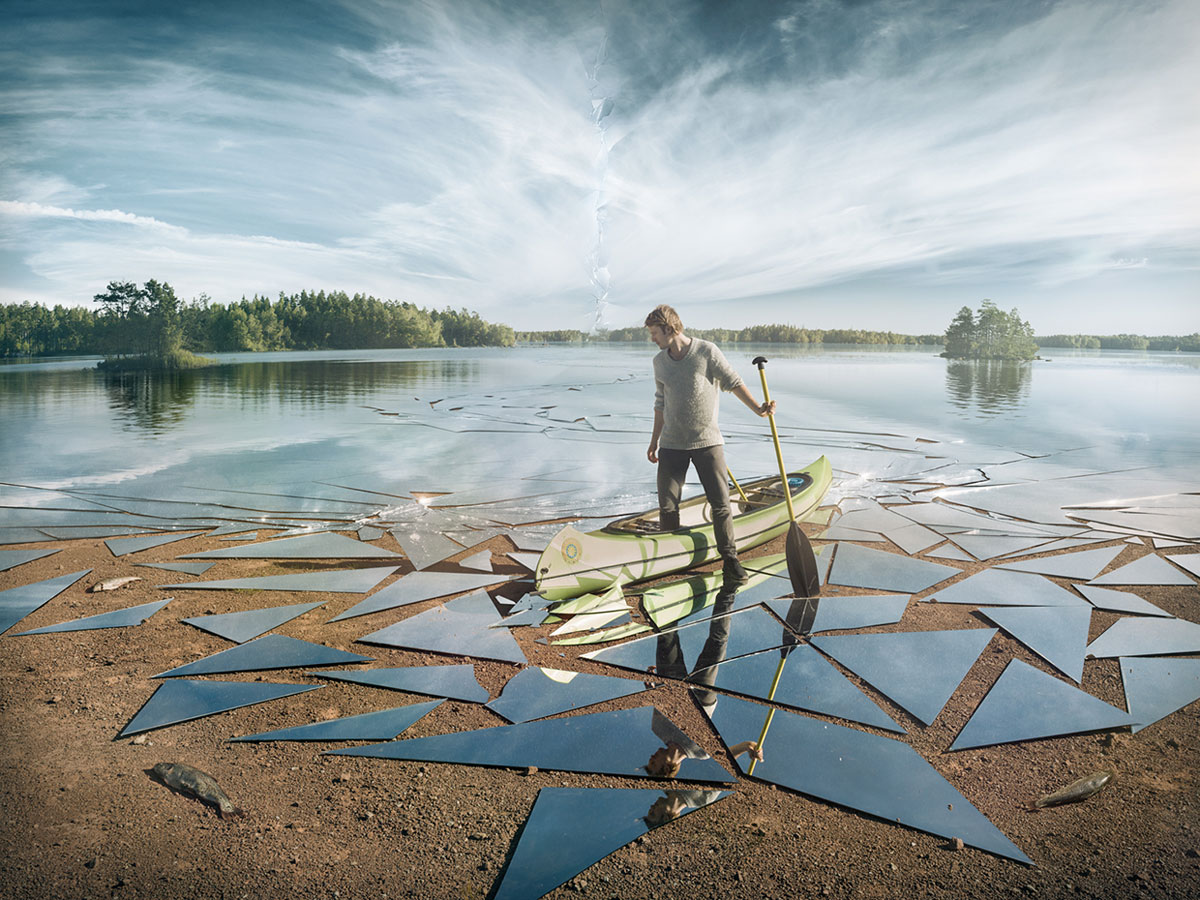 mirror glass broken lake impact by erik johansson Picture of the Day: Reflection on Mirror Lake